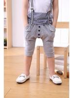 *ส่งฟรี EMS* เสื้อผ้าเด็กนำเข้ากางเกงขาสามสี่ส่วนสีเทา แต่งหมุดและกระดุมที่เป้ากางเกง ไซส์ 100, 110, 120, 130, 140