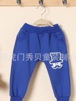 *ส่งฟรี EMS* เสื้อผ้าเด็กนำเข้า กางเกงผ้าขายาว เอวยางยืดสีฟ้า แต่งกระเป๋าด้านหลัง สกรีน Mr.Potato Beard ไซส์ 90, 100, 110, 120, 130