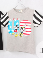 *ส่งฟรี* เสื้อผ้าเด็กนำเข้า เสื้อยืดแขนสั้น CI-SI สีเทาแขนลาย สกรีน Mickey Mouse & Minnie Mouse : Don't mess with US ไซส์ 90, 100, 110, 120, 130 #1521 (มีจำหน่ายเฉพาะในเว็บไซต์เท่านั้น)