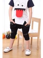 *ส่งฟรี EMS* เสื้อผ้าเด็กนำเข้า กางเกงขาสามสี่ส่วนสีดำ แต่งหมุดและกระดุมที่เป้ากางเกง ไซส์ 100, 110, 120, 130, 140