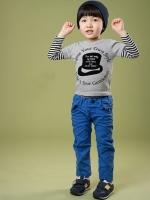 *ส่งฟรี EMS* เสื้อผ้าเด็กนำเข้า เสื้อยืดแขนต่อลายขวาง สีเทาสกรีนลายหมวก ไซส์ 90, 100, 110, 120, 130