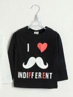 *ส่งฟรี* เสื้อผ้าเด็กนำเข้า เสื้อยืดแขนยาว CI-SI สีดำ สกรีน I love INDIFFERENT ไซส์ 100, 110, 120, 130, 140 #7447