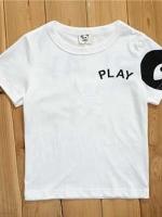 *ส่งฟรี* เสื้อผ้าเด็กนำเข้าพร้อมส่ง เสื้อยืดแขนสั้น CI-SI สีขาว สกรีน PLAY Comme des Garcons สีดำ ไซส์ 90, 100, 110, 120, 130 #1315 (มีจำหน่ายเฉพาะในเว็บไซต์เท่านั้น)