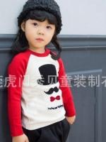 *ส่งฟรี EMS* เสื้อผ้าเด็กนำเข้า เสื้อยืดแขนยาว Hotpet สีขาว-แดง สกรีนหมวก หนวด หูกระต่าย ไซส์ 90, 100, 110, 120, 130