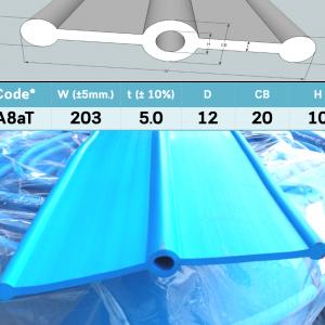 A8aT PVC Waterstop 8 นิ้ว 3 ปุ่ม หนา 5 มม.(20 เมตร) มอก.1239-2537