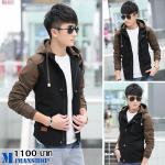 เสื้อแจ๊คเก็ตฮู๊ด J028 สีดำ (พร้อมส่ง)