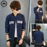 เสื้อแจ๊คเก็ต J075 สีน้ำเงิน [สินค้าไต้หวันนำเข้า-พร้อมส่ง] (ไซต์ M เท่านั้น )