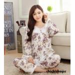 ชุดนอนเกาหลีขายาวลายดอกไม้ set 1 สีม่วง Size M