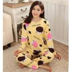 ชุดนอนน่ารักแขนยาวลายวัวสีเหลือง Size M