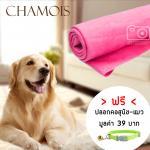 ผ้าเอนกประสงค์ ผ้าชามัวร์ อุปกรณ์อาบน้ำสุนัข-แมว สีชมพู 1ชิ้น แถมฟรีปลอกคอสุนัข-แมว (คละลาย)