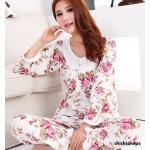 ชุดนอนเกาหลีขายาวลายดอกไม้ set 1 สีชมพู Size M
