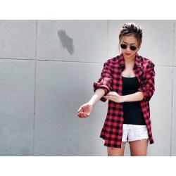 เสื้อคลุมลายสก๊อต ผู้หญิง oversize