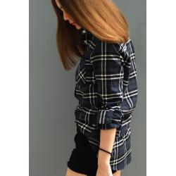 เสื้อลายสก๊อตผู้หญิงสีเทา
