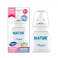 ขวดนม NATUR รุ่น uhappy ขนาด 2 oz (พร้อมจุกกันลำลัก ไม่ดูด ไม่ไหล)