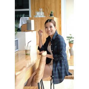 เสื้อเชิ้ตลายสก๊อตผู้หญิงสีเขียว ผ้านำเข้าจากญี่ปุ่น