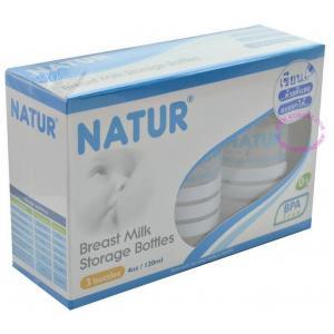 ขวดเก็บน้ำนม ขนาด 120 ml/ขวด แพ็ค 3 ขวด ยี่ห้อ Natur
