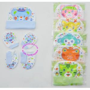 set 3 หมวก มือ เท้า สีหวาน cotton 100% ใส่ได้ตั้งแต่แรกเกิด