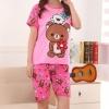ชุดนอนแขนสั้นลายหมีริลัคคุมะสีชมพู