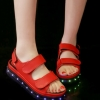 รองเท้ามีไฟ รองเท้า LED รองเท้าแตะมีไฟ สีแดง สินค้าพรีออเดอร์