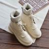 [มีหลายสี] รองเท้าบูทสั้นผู้หญิงสไตล์อังกฤษ วัสดุหนัง pu ด้านในเป็นขนสัตว์หนานุ่ม แฟชั่นหน้าหนาว
