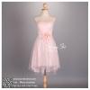 hl2011 ชุดราตรีสั้น สีชมพู แบบหน้าสั้นหลังยาว สีชมพู สวยหรูกับงานผ้าลูกไม้พรีเมี่ยม น่ารักที่สุด