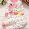 ชุดนอนเด็กสีชมพูลายกระต่าย