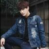 เสื้อแจ็คเก็ตยีนต์ J002 (สีน้ำเงินฟอก) ลดล้างสต๊อก (ไซต์ L / 2XL)