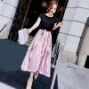 ชุดเซต เสื้อยืดสีดำ+กระโปรงยาวเกาหลี สีชมพู พริ้วสวย