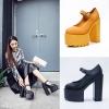 [มี2สี] รองเท้าบูทผู้หญิง ส้นสูง ทรงย้อนยุค แฟชั่นหนั pu แต่งหัวเข็มขัด แพลตฟอร์มสูง 3.5 นิ้ว / ส้นสูง 6 นิ้ว