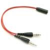 x-tips สายแปลงหูฟังมีไมค์มือถือใช้กับคอม สีแดง