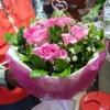 ช่อดอกกุหลาบ สีชมพู ดอกใหญ่ 12 ดอก