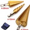 ST01 ดอกสว่านทรงเจดีย์ ดอกเจาะคว้านรู,Step Drill,ชุบไทเทเนียม ยกชุด 3 ดอก 5/9/15 Step เบอร์มิล ใหญ่สุด 32 mm *แกนหกเหลี่ยม*