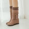 [มีหลายสี] รองเท้าบูทสั้นผู้หญิงทรงมาร์ติน ส้นเตารีด งานหนังนิ่ม จับย่น ด้านในเป็นผ้าไหมพรม สวยน่ารัก ส้นสูง 2 นิ้ว