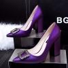 [มีหลายสี] รองเท้าคัทชูหัวแหลม ส้นสูง ส้นใหญ่ ทำจากหนังคุณภาพสูง แต่งหัวเข็มขัดฝังเพชรด้านหน้าสวยหรู ดูแพง ส้นสูง 3.5 นิ้ว