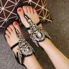 รองเท้าแตะโรมัน ส้นแบน แบบหนีบ ทรงสวยใส่สบาย มีสายรัดข้อ แฟชั่นหนังแท้ ปิดส้น ซิปด้านหลัง