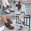 [มี2สี] รองเท้าบูทสั้นผู้หญิงมาร์ติน หนังไมโครไฟเบอร์ เกรดสูง แต่งเข็มขัด ทรงย้อนยุค ไล่ระดับสี แฟชั่นสไตล์อังกฤษ