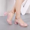 [มีหลายสี] รองเท้าส้นสูงใส่ออกงาน แฟชั่นหนังpu แต่งกลิตเตอร์วุ้งวิ้ง มีหัวเข็มขัดรัดข้อ ประดับมุกสีขาว ส้นใหญ่ ทรงสวย หวาน สุภาพ สไตล์เจ้าหญิง ส้นสูง 2.5 นิ้ว
