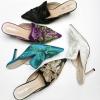 [มีหลายสี] รองเท้าคัทชูหัวแหลม ส้นสูง หนังแกะแท้ คุณภาพสูง งานปัก เปิดส้น สวย ส้นสูงประมาณ 2 นิ้ว