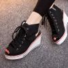 [มี2สี] รองเท้าผ้าใบส้นสูง หุ้มข้อ ทรงหัวปลา เปิดส้น แบบผูกเชือก ซิปด้านใน ทรงสวยใส่สบาย น้ำหนักเบา แฟชั่นสไตล์เกาหลี