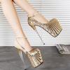 [มี2สี] รองเท้าส้นสูง แฟชั่นหนัง PU แต่งเลื่อม ส้นแก้วคริสตัล ดีไซน์ไล่ระดับสี มีสายรัดส้น