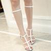 [มี2สี] รองเท้าส้นสูง หนัง pu ทรงสาน เปิดนิ้วเท้า ดีไซน์แต่งหัวเข็มขัดรัดข้อ สวย สไตล์ยุโรป