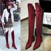 [มี2สี] รองเท้าบูทยาวหัวแหลม ผู้หญิงส้นสูง แฟชั่นหนังนิ่ม แต่งกลิตเตอร์ ส้นสูง 3 นิ้ว / บูทยาว 18 นิ้ว