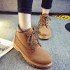 [มีหลายสี] รองเท้าบูทผู้หญิงมาร์ติน หนังแท้+pu นิ่ม ผูกเชือก ทรงหุ้มข้อ สวย เท่ แฟชั่นสไตล์อังกฤษ ทรงย้อนยุค