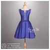 sd1079 ชุดไปงานแต่งงาน กลางวัน กลางคืน สีน้ำเงิน แขนกุด สวยหรู น่ารักกับผ้าเนื้อเงาเป็นประกาย ใส่ออกงานได้หลากหลายโอกาส