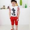 ชุดเด็ก เสื้อสีขาวลายมิกกี้เมาส์กางเกงสีแดง ยกแพ็ค 5 ชุด (ราคา 185 บาท/ชุด) ขนาด 100-140