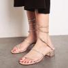 รองเท้าใส่ออกงาน รองเท้าหัวปลา ส้นเตี้ยประดับเพชร หนังแท้ สีครีม สายพันรอบขา ทรงสวยสไตล์โรมัน