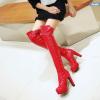 [มี2สี] รองเท้าบูทยาว ส้นสูง รองเท้าบูทผู้หญิงมาร์ติน แฟชั่นหนัง pu แต่งเข็มขัด ซิปด้านใน ทรงสวยสไตล์ยุโรป