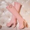 [มีหลายสี] รองเท้าบูทยาวผู้หญิงส้นสูง เซ็กซี่ หนังไมโครไฟเบอร์ ซิปด้านใน สวย แฟชั่นสไตล์ยุโรป ส้นสูง 4.5 นิ้ว / แพลตฟอร์มสูง 1.5 นิ้ว