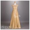 ld3016-01 ชุดราตรียาว สีทอง ผ้าลูกไม้ซีทรูปักเลื่อม เว้าหลังสุดเซ็กซี่ ต่อกระโปรงผ้าซาตินพรีเมี่ยม สวยหรู