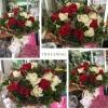 ช่อดอกกุหลาบ สีขาว แดง